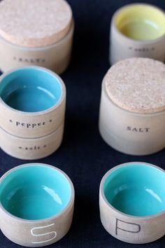 Ceramic salt and pepper dishes by Paulova  beautiful!