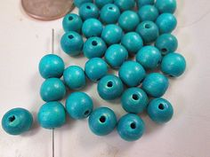 Wood Beads Turquoise Blue Wood Beads Lightweight by FLcowgirls