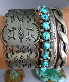 great stacked sterling & turquoise Southwestern cuff bracelets.