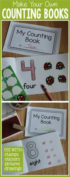 Make your own counting books.  Make a 1-10 book- 1-5 book, a single number book.....etc.