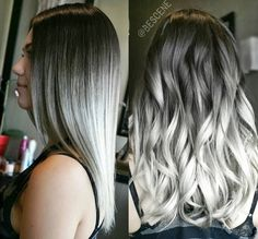 Best Fresh Hair Color Ideas for Dark Hair - Hair Color White Ombre Hair, Silver Grey Hair, Black White Hair, Black Ombre, Hair Color Dark, Dark Hair, Metallic Hair Color, Blue Hair, Fresh Hair