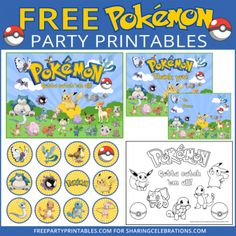 Free Pokemon PrintablesMy kids are loving playing Pokemon GO! I thought I'd make this set of free Pokemon party printables to help make your Pokemon parties extra fun! Pokemon Go, Pokemon Craft, Pokemon Party, Pokemon Halloween, Pokemon Printables, Party Printables, Free Printables, Pokemon Cupcakes Toppers, Cupcake Toppers Free