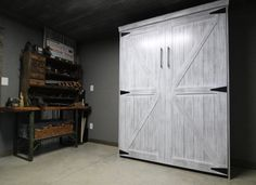 Our customer chose the Bedder Way Vertical Queen Barn Face Murphy bed in oak painted Rustic Grey with black modern handles. Murphy Bed, Tall Cabinet Storage, Barn, Rustic, Queen, Gallery, Grey, Modern, Furniture