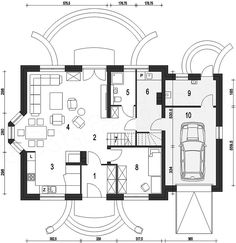 Projekt Dom Dla Ciebie 1 z garażem 1-st. [A] 134,4 m2 - koszt budowy - EXTRADOM Tiny Spaces, House Plans, Floor Plans, Cabin, How To Plan, House Styles, Interior, Ideal House, Ideas