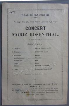 Rosenthal, Moriz - Concert Program Vienna 1888