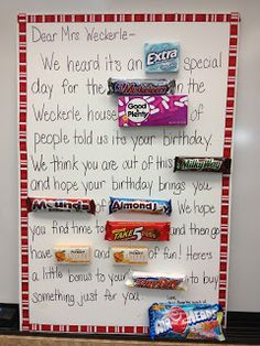candy bar card This was fun to do for the teacher but you cant