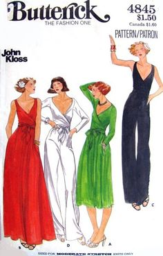 1970s John Kloss Disco Evening Dress and Jumpsuit Pattern Butterick 4845 Front Wrapped Bodice Evening Cocktail Dress or Straight Leg Low Cut Surplice Jumpsuits Bust 32.5 Vintage Sewing Pattern