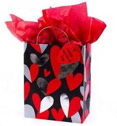 Hallmark Medium Valentine's Day Gift Bag with Tissue Paper (Red & Silver Heart), Multicolor Valentines Gifts For Him, Happy Valentines Day, Valentine's Day Gift Baskets, Tissue Paper, Gift Bags, Bag Making, Silver, Medium, Heart