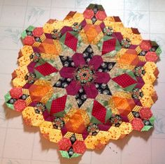For the love of sewing: And here is the finish block On The New Hexagon Millefiori Qulit along