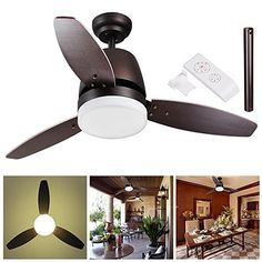 Yescom 42 Bronze Ceiling Fan with Dimmable LED Light and Remote Control 3 Blades Indoor Room Home Decoration Maple
