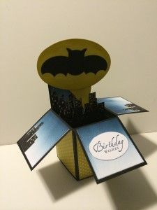 These Batman Box cards will be used for drawing prizes to give to the the guest as part of some activities that will be be played throughout the evening. Pop Up Box Cards, 3d Cards, Card Boxes, Exploding Box Card, Birthday Cards, 21st Birthday, Birthday Gifts, Creative Box, Shaped Cards