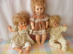 """Eegee Doll Lot of 3 Baby Dolls - 1970s - 24"""" to 19 