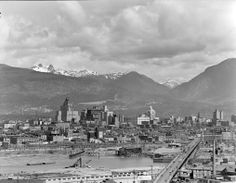 Downtown Vancouver - 1948 View looks north from the Mount Pleasant district. Downtown Vancouver, Vancouver Island, Canadian History, O Canada, Mount Pleasant, Most Beautiful Cities, Old City, Old Pictures, Historical Photos