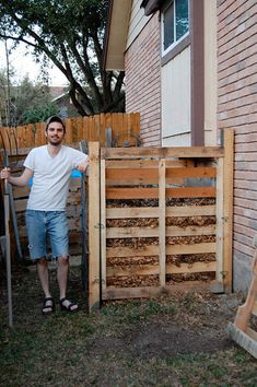 Pallets: A Compost Bin - this is how my husband makes our compost bins. . . . . #garden, #compost, #pallets