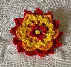 Sunlight Poppy Crochet Thread Flower Brooch