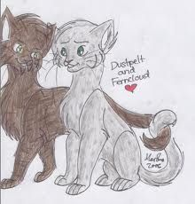 My second favorite Warrior Cat of all time, FERNCLOUD, and her mate, Dustpelt. <3