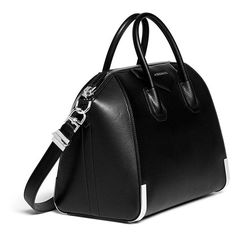 GIVENCHY 'Antigona' medium leather bag (€2.410) ❤ liked on Polyvore featuring bags, handbags, satchel purse, givenchy purse, black leather purse, givenchy handbags and top handle handbags
