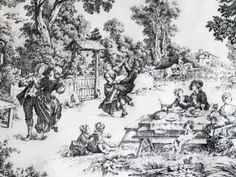 COUNTRY LIFE Toile Fabric Black & White Home Decor. $14.99, via Etsy.