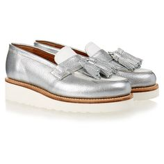 Grenson Clara Silver and White Tassel Loafer ($125) ❤ liked on Polyvore featuring shoes, loafers, silver, slip-on shoes, tassel loafers, leather sole shoes, platform loafers and silver platform shoes