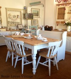 Rustic painted dining table & four farmhouse chairs with church pew painted in Autentico Bath Stone at Rosie Loves Vintage.