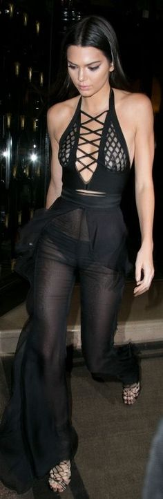 Kendal Jenner Black Sheer Balmain Pants Paris Fall Inspo