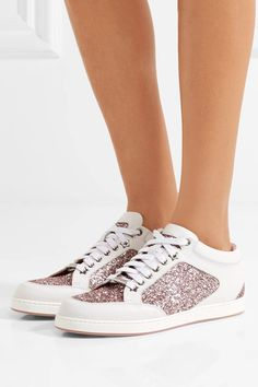 Jimmy Choo - Miami Glitter-paneled Leather Sneakers - White - IT38.5