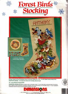 "Dimensions FOREST BIRDS 16"" Stocking - Counted Cross Stitch Kit - Blue Jay"