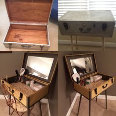 Repurposed 50 year old tin suitcase that belonged to my dad. It's in my guest room. Vanity, antique suitcase, tin suitcase, vintage suitcase.