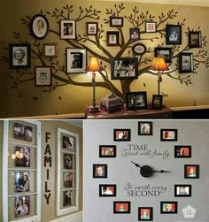 great wall decoration of family pictures! Photowall Ideas, Display Family Photos, Family Pics, Display Pictures, Family Posing, Vibeke Design, Diy Home Decor, Room Decor, Family Tree Wall