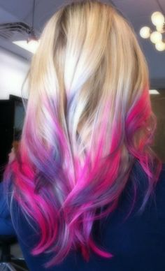 Blonde with pink and purple tips!