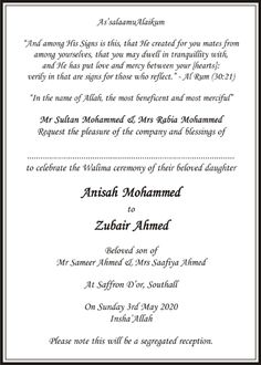 Muslim Wedding Invitation Wordings | Islamic Wedding Card Wordings