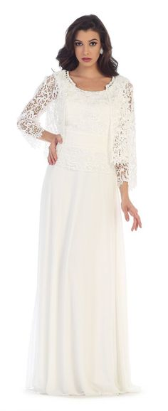 This elegant mother of the bride floor length dress features sleeveless, lace and chiffon material with quarter sleeve jacket. This dress is great for wedding, evening party and other special. Fabric