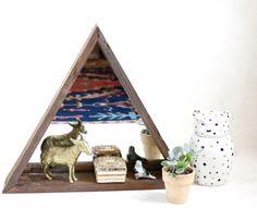 Triangle Mirror Box - Triangular Box - Desk Shelf - Geometric Shelf - Triangular - MidCentury Modern Shelf - Small Shelf - Reclaimed Wood