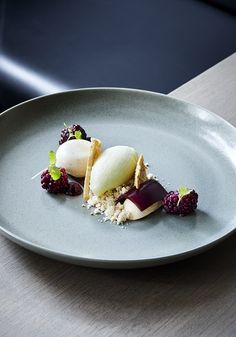 Peanut Parfait, Blackberry Jelly, Green Apple Sorbet, Blackberry Coulis, Peanut Powder, Cinnamon Pav