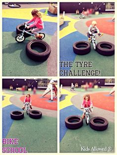 We 've had a lovely morning in Bike School on the balance bikes, completing an obstacle course. Rosie also introduced 'the tyre challenge' to the children - this is when the tyres get closer together after each time the child passes through. A very simple concept, but it requires the child to concentrate on their steering and encourages the child to lift their legs up. This really helps them to build their confidence and it's good fun too! #EYFS