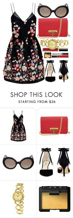 """""""Spring Wedding"""" by jomashop ❤ liked on Polyvore featuring The 2nd Skin Co., Prada, Nine West, Citizen, NARS Cosmetics, Sephora Collection, black and red"""