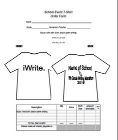 Easy To Edit Order Form For All Your School T Shirt Orders