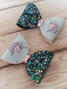 Blue unicorn bow glitter bows Girl's hair bows
