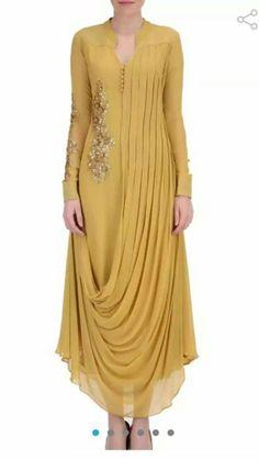 Neckline & Button detail Indian Gowns Dresses, Indian Fashion Dresses, Indian Designer Outfits, Fashion Outfits, Pakistani Dresses, Kurta Designs Women, Blouse Designs, Dress Neck Designs, Designer Party Wear Dresses