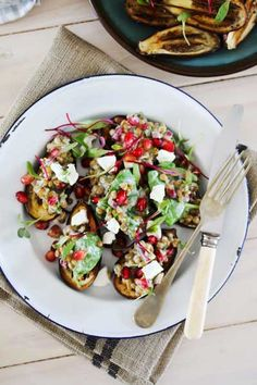 Roasted Baby Aubergines with Lentils, Pomegranate & Chevin Dressing  |  Crush Magazine Recipe