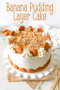 Banana Pudding Layer Cake - Cool and creamy banana pudding is sandwiched between three layers of light and fluffy vanilla cake in this banana lover's dream. This sweet treat is perfect for Easter, Mother's Day, baby showers or any family gathering. A quick and easy and delicious dessert recipe for all ages. #easter #banana #cake