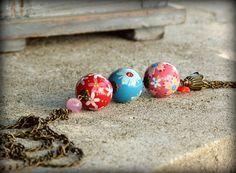 Sautoir rose rouge et turquoise perles en bois par LesBijouxDeMarie, €35.00