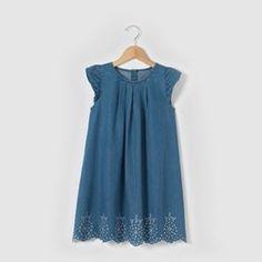 Embroidered Cotton Denim Dress, 3-12 Years R kids - Girls Clothing