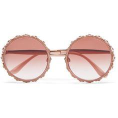 Dolce & Gabbana Swarovski crystal-embellished round-frame rose gold-tone sunglasses