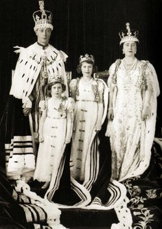 Queen Elizabeth with her husband King George VI and their daughters, Princess Elizabeth and Princess Margaret. The picture was taken after the Coronation - 12 May 1937