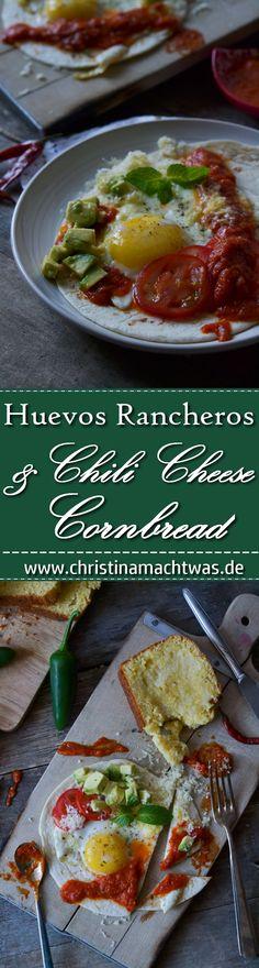 Huevos Rancheros und Chili Cheese Cornbread ist ein herrlich herzhaftes Frühstück. Oder Mittagessen. Oder Abendessen. Egal wann - DAS hier schmeckt immer! _______________________ Homemade Huevos Rancheros and Chili Cheese Cornbread. Low Budget Meals, Budget Recipes, Huevos Rancheros, Cornbread, Chili, Yummy Food, Ethnic Recipes, Eat Lunch, Dinners