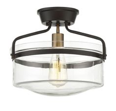 Trade Winds 1-Light Semi-Flush in Oiled Rubbed bronze with Brass accents