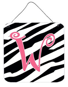 Letter W Initial Zebra Stripe and Pink Wall or Door Hanging Prints