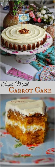 "Perfect Carrot Cake with Cream Cheese Frosting. ""Perfectly moist and tender Carrot Cake with a creamy, not-extremely-sweet Cream Cheese Frosting. The best carrot cake I had ever"". Moist Carrot Cakes, Best Carrot Cake, No Bake Desserts, Just Desserts, Delicious Desserts, Baking Recipes, Cake Recipes, Dessert Recipes, Pie Cake"