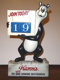 1960s Hamm's Bear Join Today Big Bear Drinking Brother Calendar Advertising Sign